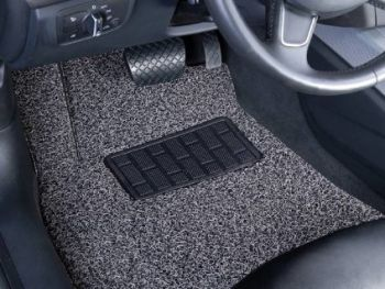 Coozo 18 mm Thick Coil Car Mats : Universal Set Of 5 : Black Grey