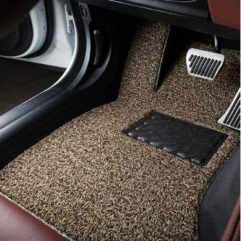 Coozo 18 mm Thick Coil Car Mats : Universal Set Of 3 : Beige Brown