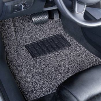 Coozo 18 mm Thick Coil Car Mats : Universal Set Of 3 : Black Grey